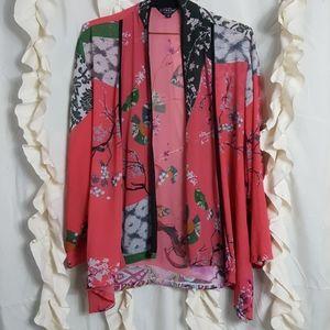 Citron Santa Monica kimono wrap Oriental print